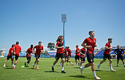OSIJEK, CROATIA - Friday, June 7, 2019: Wales' Ben Woodburn, Ethan Ampadu and Will Vaulks during a training session at Stadion Gradski vrt ahead of the UEFA Euro 2020 Qualifying Group E match against Croatia. (Pic by David Rawcliffe/Propaganda)