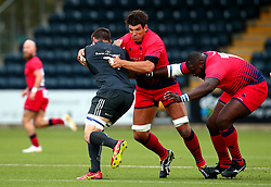 Biyi Alo of Worcester Warriors and Donncha O'Callaghan of Worcester Warriors tackle Liam O'Connor of Munster Rugby - Mandatory by-line: Robbie Stephenson/JMP - 24/08/2017 - RUGBY - Sixways Stadium - Worcester, England - Worcester Warriors v Munster Rugby - Preseason Friendly