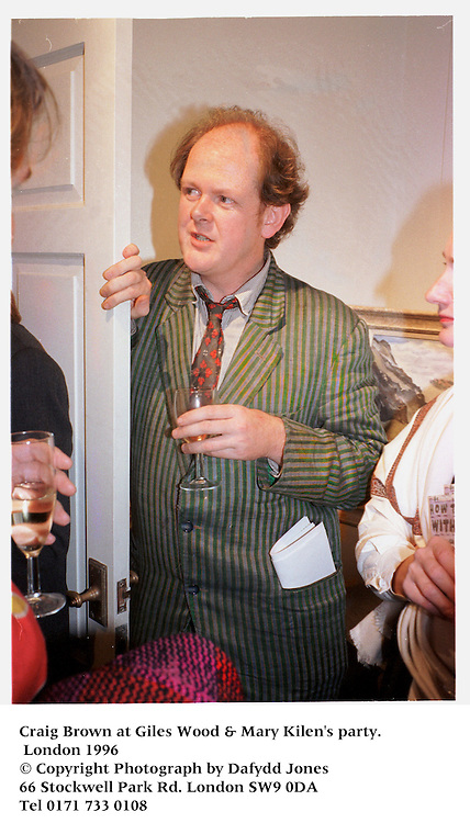 Craig Brown at Giles Wood & Mary Kilen's party. London 1996<br />© Copyright Photograph by Dafydd Jones<br />66 Stockwell Park Rd. London SW9 0DA<br />Tel 0171 733 0108