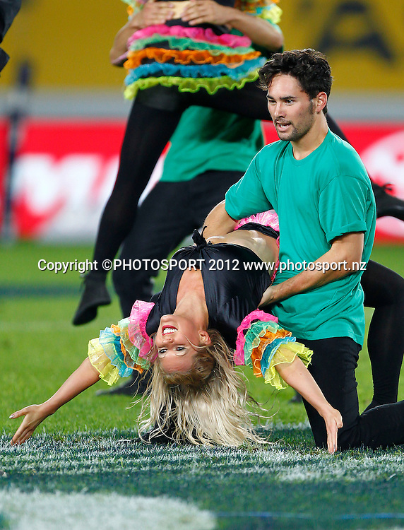 Sky City dancers during the Super Rugby game between The Blues and The Sharks at Eden Park, Auckland New Zealand, Friday 13 April 2012. Photo: Simon Watts / photosport.co.nz