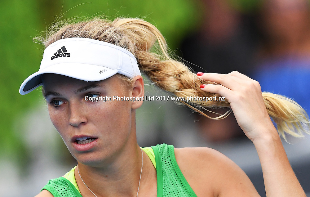 Danish tennis player Caroline Wozniacki during her first round singles match at the ASB Classic. WTA Womens Tournament. ASB Tennis Centre, Auckland, New Zealand. Tuesday 3 January 2017. © Copyright photo: Andrew Cornaga / www.photosport.nz