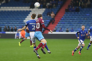 Jamie Stott Oldham Defender & Simon Church Scunthorpe Forward the EFL Sky Bet League 1 match between Oldham Athletic and Scunthorpe United at Boundary Park, Oldham, England on 28 October 2017. Photo by George Franks.