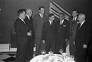 12/02/1963<br /> 02/12/1963<br /> 12 February 1963<br /> Launch reception for Irish Wool Weavers Co-operative Ltd. at the Shelbourne Hotel, Dublin.  At the event were (l-r): Mr. Joseph Largey, Joseph Largey Ltd.; Mr. F.E. Stringer, Managing Directer Hill and Sons Ltd.; Mr. Joe Hanly, Managing Director of John Hanly and Co. (Nenagh); Mr. T.R. Ticher, Joint Sales Manager; Mr. K. Ticher, Joint Sales Manager; Mr. T.A. Dunlop and Mr. Seamus Sherry, Manager, Providence Woolen Mills, Foxford.