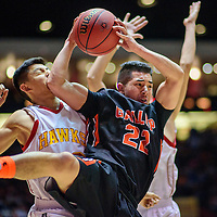 031415  Adron Gardner/Independent<br /> <br /> A Centennial Hawk gets an elbow from Gallup Bengal Richard Rangel (22) in the paint during a 5A New Mexico state basketball tournament final at The Pit in Albuquerque Saturday.