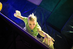 Tjasa Kalan during national championship in boulder climbing on November 30, 2014 in Kranj, Slovenia. (Photo By Grega Valancic / Sportida)