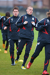 LIVERPOOL, ENGLAND - Thursday, March 20, 2008: Liverpool's Martin Skrtel and Steve Finnan training at Melwood ahead of the Premiership clash with Manchester United on Easter Sunday. (Photo by David Rawcliffe/Propaganda)