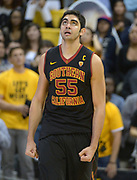 Dec 19, 2013; Long Beach, CA, USA; Southern California Trojans center Omar Oraby (55) reacts during the game against the Long Beach State 49ers at Walter Pyramid. Long Beach State defeated USC 72-71.