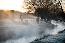 © Licensed to London News Pictures. 16/12/2017. London, UK. A frost and mist covered landscape in Richmond Park. Parts of the UK are experiencing freezing temperatures today with snow expected in parts. London, UK. Photo credit: Ben Cawthra/LNP