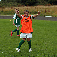 Ann-Marie Kelly the only girl at the Moneypoint FC Summer Soccer Camp in Kilrush on Wednesday.<br /> Photograph by Yvonne Vaughan