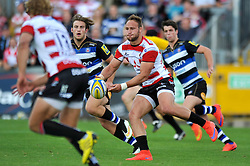 Bill Meakes of Gloucester Rugby passes the ball - Mandatory byline: Patrick Khachfe/JMP - 07966 386802 - 13/09/2015 - RUGBY UNION - Memorial Stadium - Bristol, England - Gloucester Rugby v Bath Rugby - West Country Challenge Cup.