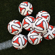 The 2014 adidas MLS Match Ball, is based on the Brazuca, the official match ball of the 2014 FIFA World Cup in Brazil. The MLS became the first league in the world to play with the Brazuca. The ball is seen during the New York Red Bulls V Houston Dynamo, Major League Soccer regular season match at Red Bull Arena, Harrison, New Jersey. USA. 23rd April 2014. Photo Tim Clayton