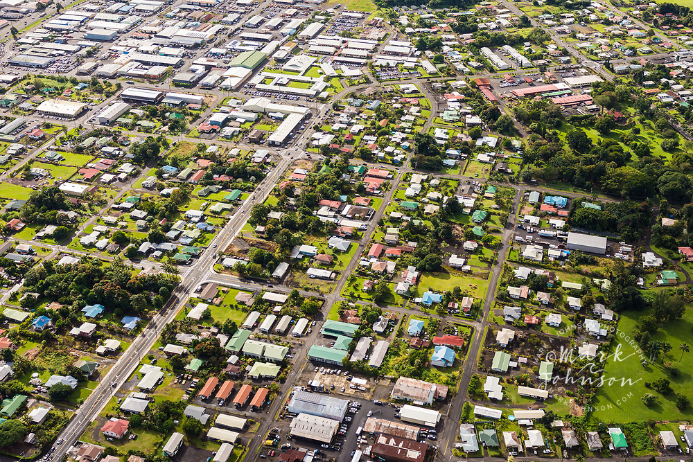 Aerial photo of houses in Hilo, Big Island, Hawaii