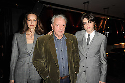 Left to right, CATHERINE BAILEY, DAVID BAILEY and SASCHA BAILEY at a dinner to celebrate the work of Malaria No More UK held at Hakkasan Mayfair, 17 Bruton Street, London W1 on 16th November 2010.