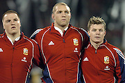 Lions (L-R) Gethin Jenkins, Ben Kay and Brian O'Driscoll stand in line for the anthems during the first test between the All Blacks and the British and Irish Lions at Jade Stadium, Christchurch, New Zealand, on Saturday 25 June, 2005. The All Blacks won the match 21-3. Photo: Fotosport/PHOTOSPORT. **NZ USE ONLY**<br />
