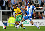 Hartlepool - Saturday August 29th, 2009: Ritchie Jones of Hartlepool (R) and Korey Smith of Norwich City during the Coca Cola League One match at Victoria Park, Hartlepool. (Pic by Jed Wee/Focus Images)..