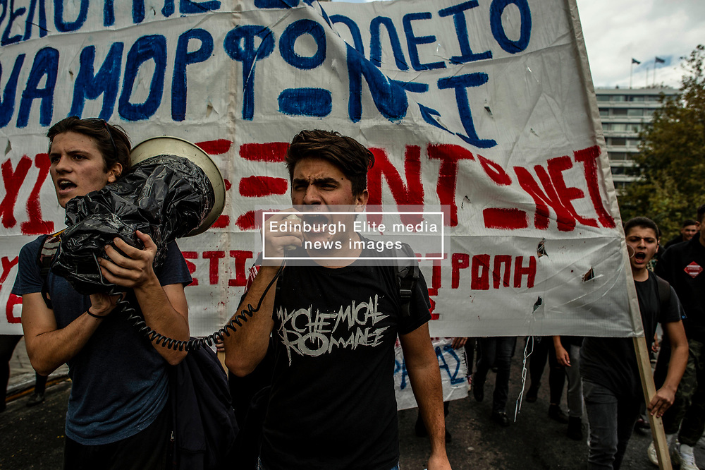 High school students shout slogans during a demonstrate against the new government law in schools  in Athens, Greece on 04 November 2019<br /> <br /> Pictured: <br /> Dimitris Lampropoulos  | EEm date
