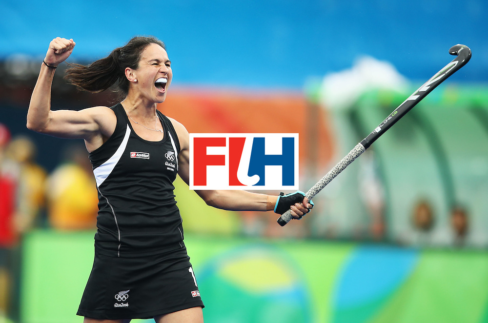 RIO DE JANEIRO, BRAZIL - AUGUST 10:  Kayla Whitelock of New Zealand celebrates as Kelsey Smith of New Zealand scores their first goal during the Women's Pool A Match between Spain and New Zealand on Day 5 of the Rio 2016 Olympic Games at the Olympic Hockey Centre on August 10, 2016 in Rio de Janeiro, Brazil.  (Photo by Mark Kolbe/Getty Images)
