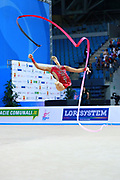 Kaho Minagawa of Japan competes during the Rhythmic Gymnastics Individual ribbon final  of the World Cup at Adriatic Arena on April 3, 2016 in Pesaro, Italy. She was born 20 August 1997 in Chiba Prefecture, Japan.