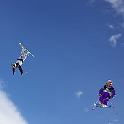 Jossiah Wells, New Zealand, (left) and Pc Fosse, Norway, in action during the Men's Freeski Big Air competition at Cardrona, New Zealand during the Winter Games. Wanaka, New Zealand, 20th August 2011. Photo Tim Clayton