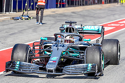 February 18, 2019 - Barcelona, Spain - Lewis Hamilton of Mercedes AMG Petronas Formula One Team during the afternoon session of the first day of F1 Test Days in Montmelo circuit, Spain, on February 18, 2019  (Credit Image: © Javier MartíNez De La Puente/NurPhoto via ZUMA Press)