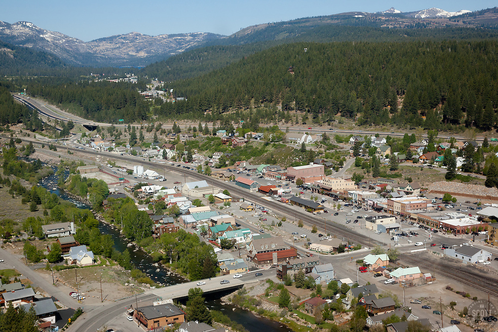 """Downtown Truckee Aerial 4"" - Downtown Truckee photographed from a helicopter."