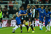 Joelinton (#9) of Newcastle United and Callum Hudson-Odoi (#20) of Chelsea wrestle for possession of the ball during the Premier League match between Newcastle United and Chelsea at St. James's Park, Newcastle, England on 18 January 2020.
