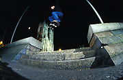 Stevie Thompson doing an ollie over some steps, Westminster Abbey, London, UK, 2000's