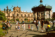 MEXICO, GUADALAJARA Plaza de Armas on the south side of the cathedral with Art Nouveau bandshell and the Government Palace