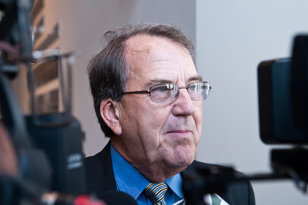 Lathan Goumas | MLive.com..May 2, 2012 - Former University of Michigan football coach Lloyd Carr talks with reporters at the Flint Institute of Arts in Flint before speaking at an event to celebrate the 90th anniversary of the United Way of Genesee County.