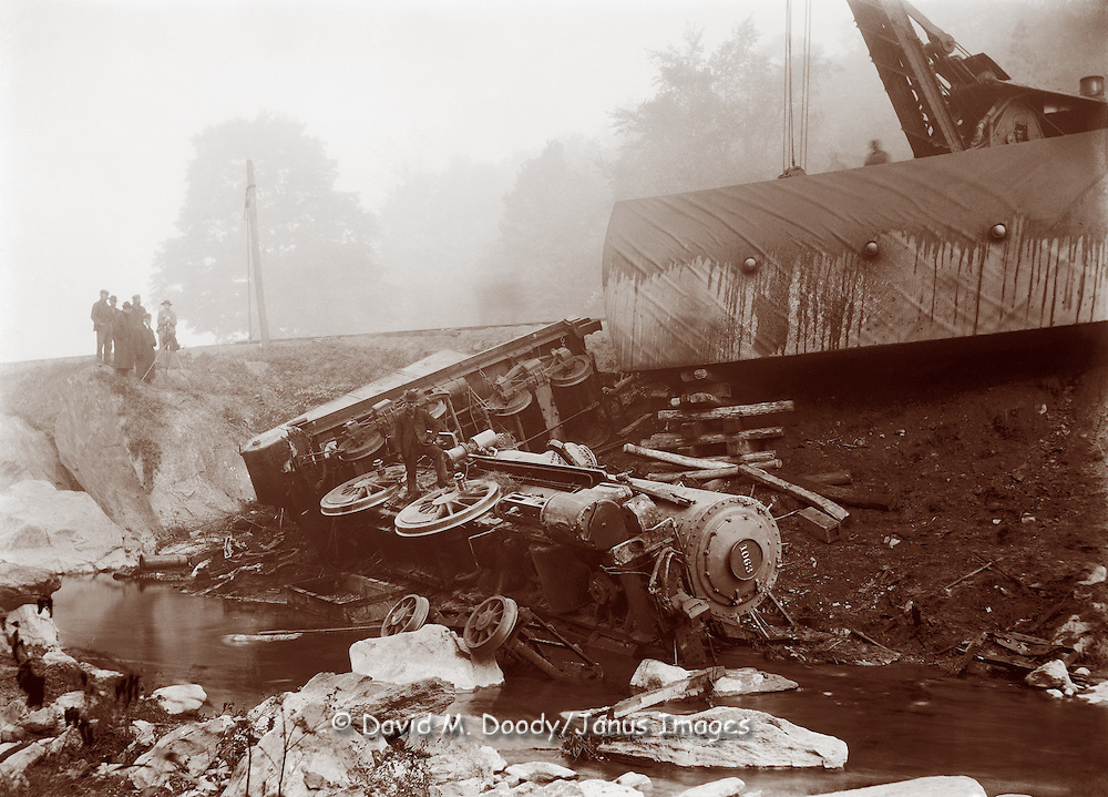 Vintage Photo: Train Wreck, circa 1900 railroad disaster,