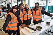 Security staff pose during the International Series match between Jacksonville Jaguars and Philadelphia Eagles at Wembley Stadium, London, England on 28 October 2018.