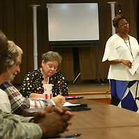 Belle-Shivers Middle School Principal Karen Howard discusses some of her school's attributes during October's Aberdeen School District P-16 Council meeting.