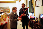 2/12/13 6:45:03 AM -- Washington, DC, U.S.A Teddy Kremer of White Oak, receives a special baseball bat from The Speaker of the House John Boehner in his office prior to President Barack Obama delivering the State of the Union address to a joint session of the United States Congress in the House chamber of the U.S. Capitol.<br /> <br /> Photo by Jeff Swinger, Gannett