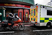 London | 09 Apr 2010<br /> <br /> Telephone booth, ambulance car and motorcycle at Madame Tussauds at Marylebone Road.<br /> <br /> &copy;peter-juelich.com<br /> <br /> [No Model Release | No Property Release]