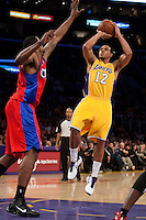 15 January 2010: Guard Shannon Brown of the Los Angeles Lakers shoots the ball over Marcus Camby of the Los Angeles Clippers during the second half of the Lakers 126-86 victory over the Clippers at the STAPLES Center in Los Angeles, CA.