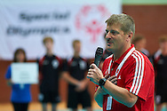 Krzysztof Krukowski speaks while opening ceremony during of The Special Olympics Unified Volleyball Tournament at Ursynow Arena in Warsaw on August 27, 2014.<br /> <br /> Poland, Warsaw, August 27, 2014<br /> <br /> For editorial use only. Any commercial or promotional use requires permission.<br /> <br /> Mandatory credit:<br /> Photo by © Adam Nurkiewicz / Mediasport
