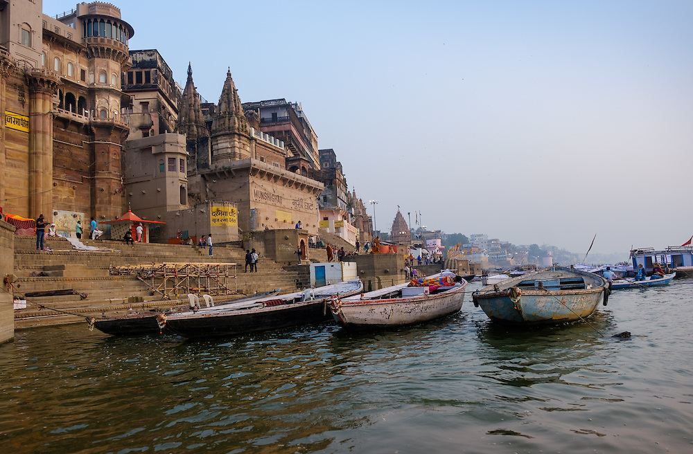 VARANASI, INDIA - CIRCA NOVEMBER 2016: Ghat in the Ganges river early morning. The city of Varanasi is the spiritual capital of India, it is the holiest of the seven sacred cities in Hinduism and Jainism. The Ganges is also considered a sacred river.