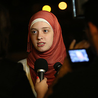 Hiba Shaban, a student with the Syrian American Chapter speaks with the media during a candlelight vigil in memory of American freelance journalist Steven Sotloff at the University of Central Florida in Orlando, Florida, USA, 03 Septemvber 2014. Sotloff was reportedly executed by the Islamic State according to a video released by the group on 02 September. Sotloff was a former student at the university.