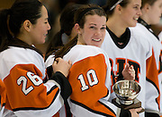 2012/03/04 - RIT's Kim Schlattman holds the ECAC West tournament MVP trophy after the ECAC West Championship game between RIT and SUNY Plattsburgh at RIT's Ritter Arena on March 4th, 2012. RIT won 2-1 to earn an automatic berth in the NCAA tournament.