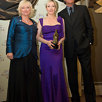 LONDON - APRIL 09: Hosts Judy Finnigan and Richard Madeley with author JK Rowling with her award for the Outstanding Achievement during the Galaxy British Book Awards held at the Grosvenor House Hotel on April 9, 2008 in London, England.