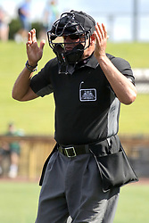 28 May 2017: Umpire Steve Bartelstein  during a Frontier League Baseball game between the Lake Erie Crushers and the Normal CornBelters at Corn Crib Stadium on the campus of Heartland Community College in Normal Illinois