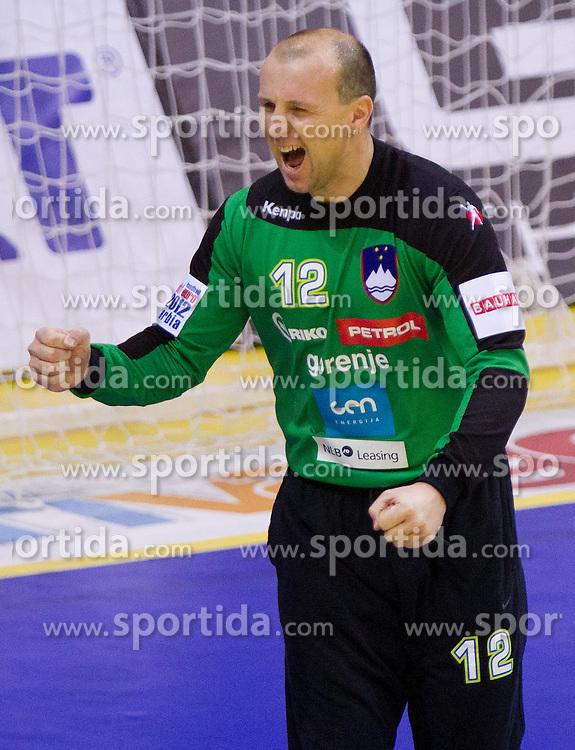 Gorazd Skof of Slovenia during handball match between Slovenia and Croatia in  2nd Round of Preliminary Round of 10th EHF European Handball Championship Serbia 2012, on January 18, 2012 in Millennium Center, Vrsac, Serbia. Croatia defeated Slovenia 31-29. (Photo By Vid Ponikvar / Sportida.com)