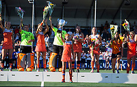 BREDA - Carlien Dirkse van den Heuvel (Ned) met de beker   na  de finale  Nederland-Japan (8-2) van de 4 Nations Trophy dames 2018 . COPYRIGHT KOEN SUYK