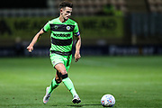Forest Green Rovers Liam Shephard(2) passes the ball forward during the EFL Sky Bet League 2 match between Cambridge United and Forest Green Rovers at the Cambs Glass Stadium, Cambridge, England on 2 October 2018.