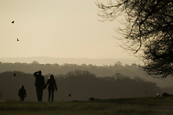© London News Pictures. 22/02/2014. London, UK.  A couple hold hands while walking at sunrise at Richmond Park in West London. The south of England is experiencing warm weather for the time of year and sunshine following weeks of rain and flooding.  Photo credit: Ben Cawthra/LNP