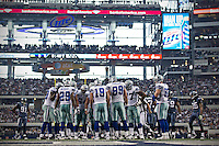 06 November 2011: The Dallas Cowboys with (19) Miles Austin huddle up against the Seattle Seahawks during the first half of the Cowboys 23-13 victory over the Seahawks at Cowboy Stadium in Arlington, TX.