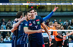 17.04.2019, Olympiahalle Innsbruck, Innsbruck, AUT, VBL, Deutsche Volleyball Bundesliga, HYPO Tirol Alpenvolleys Haching vs Berlin Recycling Volleys, Halbfinale, 3. Spiel, im Bild v.l.: Jubel Tirol Hugo De Leon Guimaraes da Silva (Tirol), Matthew Pollock (Tirol) // during the German Volleyball Bundesliga (VBL) 3rd semifinal match between HYPO Tirol Alpenvolleys Haching and Berlin Recycling Volleys at the Olympiahalle Innsbruck in Innsbruck, Austria on 2019/04/17. EXPA Pictures © 2019, PhotoCredit: EXPA/ JFK