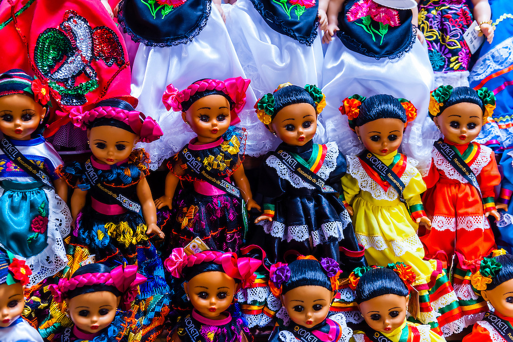 Mexican dolls (souvenirs), Xcaret Park (Eco-archaeological Theme park), Riviera Maya, Quintana Roo, Mexico