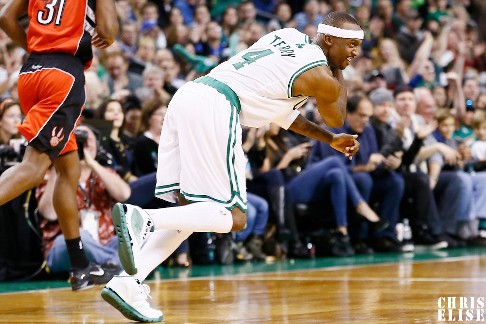 17 November 2012: Boston Celtics shooting guard Jason Terry (4) celebrates a three point made during the Boston Celtics 107-89 victory over the Toronto Raptors at the TD Garden, Boston, Massachusetts, USA.