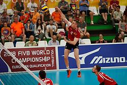 20170525 NED: 2018 FIVB Volleyball World Championship qualification, Koog aan de Zaan<br />Mihai Voleanschii (5) of Republic of Moldova <br />©2017-FotoHoogendoorn.nl / Pim Waslander